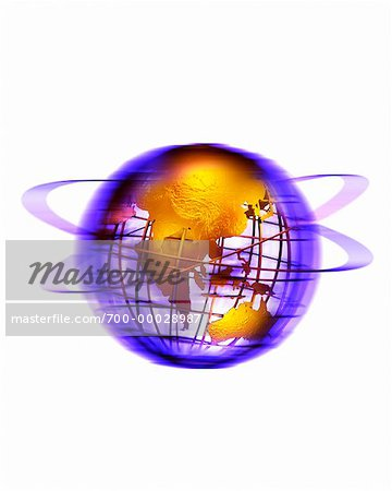 Wire Globe with Rings Pacific Rim Stock Photo - Rights-Managed, Image code: 700-00028987