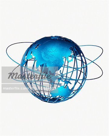 Wire Globe and Rings Pacific Rim Stock Photo - Rights-Managed, Image code: 700-00029509