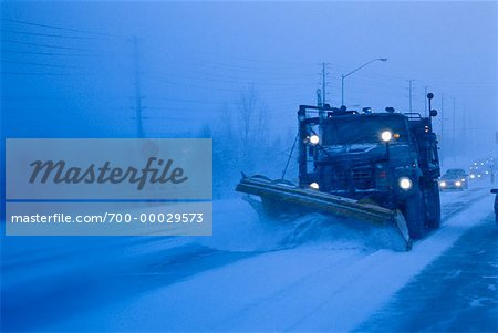 Truck Shovelling Snow at Dusk Toronto, Ontario, Canada Stock Photo - Rights-Managed, Image code: 700-00029573