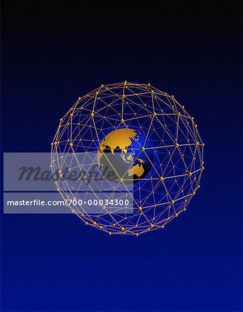 Globe in Wire Sphere Pacific Rim Stock Photo - Rights-Managed, Image code: 700-00034300