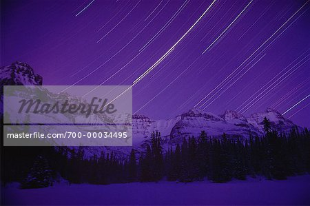 Star Trails and Mountains Lake O'Hara British Columbia, Canada