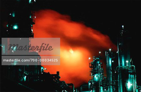 Petrochemical Refinery at Night Sarnia, Ontario, Canada