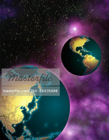 Two Globes in Space North and South America and Pacific Rim Stock Photo - Rights-Managed, Image code: 700-00035688