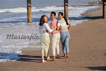 Three Women Walking on Beach