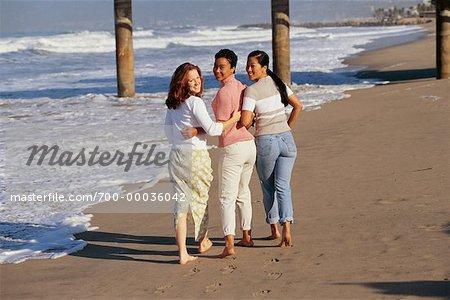 Three Women Walking on Beach