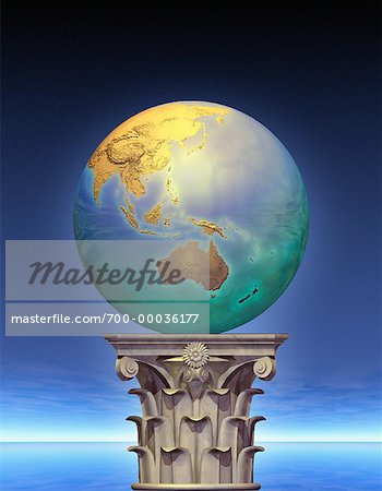 Globe on Pedestal Pacific Rim Stock Photo - Rights-Managed, Image code: 700-00036177