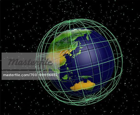 Globe and Grid Pacific Rim Stock Photo - Rights-Managed, Image code: 700-00036482