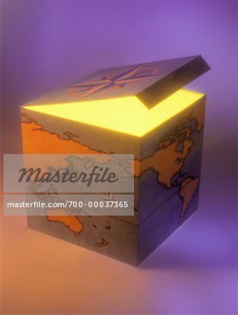 World Map on Box Stock Photo - Rights-Managed, Image code: 700-00037365