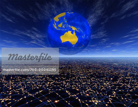 Globe over Horizon Pacific Rim Stock Photo - Rights-Managed, Image code: 700-00041195
