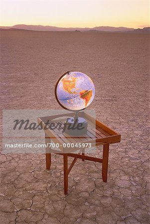 Globe on Table in Desert Nevada, USA Stock Photo - Rights-Managed, Image code: 700-00045973