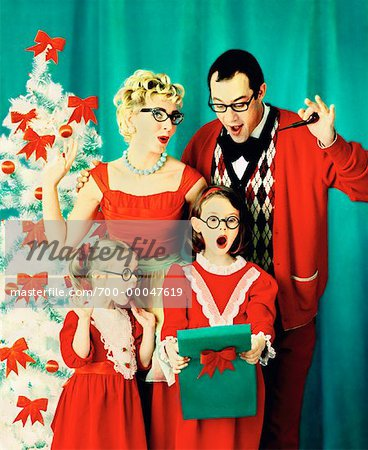 Portrait of Family at Christmas