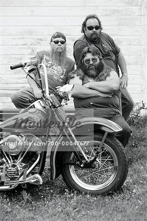 Portrait of Bikers with Motorcycle Marmora, Ontario, Canada Stock Photo - Rights-Managed, Image code: 700-00047677
