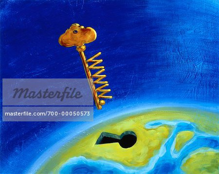 Illustration of Key with WWW Going into Keyhole on Globe Stock Photo - Rights-Managed, Image code: 700-00050573