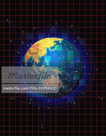 Globe with Grid and Connecting Lines Pacific Rim Stock Photo - Rights-Managed, Image code: 700-00054511