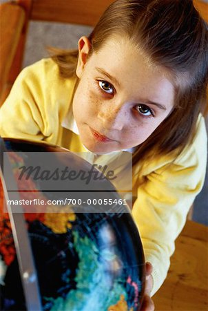 Portrait of Girl with Globe Stock Photo - Rights-Managed, Image code: 700-00055461