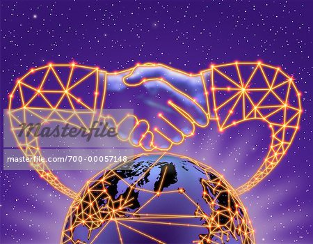 Globe and Abstract Handshake With Connecting Lines In Space