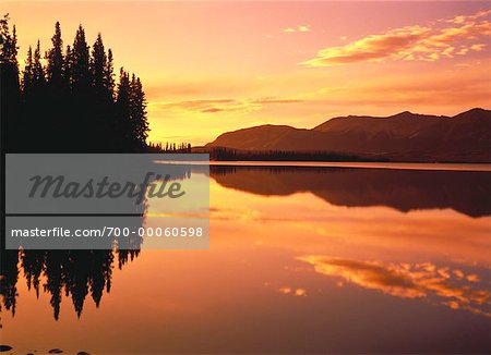 Sunset over Mountains, Trees and Bonnet Plume River Yukon Territory, Canada Stock Photo - Rights-Managed, Image code: 700-00060598