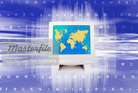 World Map and Binary Code on Computer Screen Stock Photo - Rights-Managed, Image code: 700-00061076