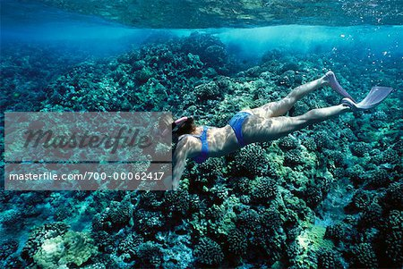 Underwater View of Woman Snorkelling near Molokini Island Maui, Hawaii, USA