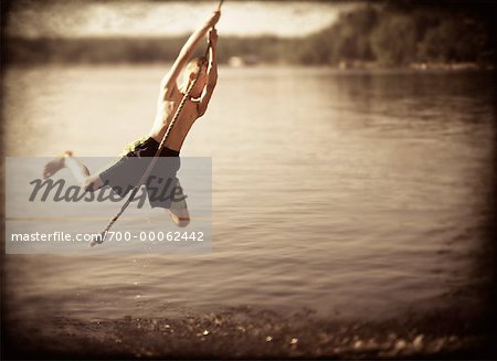 Hanging boy images for Swing over water