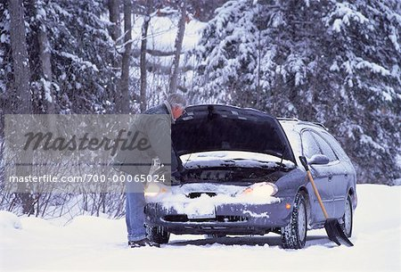 Mature Man with Stalled Car at Roadside in Winter, ON, Canada Stock Photo - Rights-Managed, Image code: 700-00065024