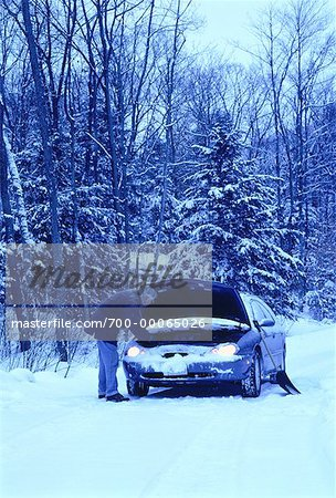 Mature Man with Stalled Car at Roadside in Winter, ON, Canada Stock Photo - Rights-Managed, Image code: 700-00065026