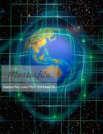 Globe and Grid in Space Pacific Rim Stock Photo - Rights-Managed, Image code: 700-00066579