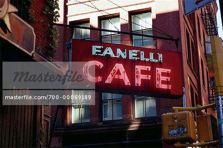 Cafe Sign and Buildings, Soho New York, New York, USA Stock Photo - Rights-Managed, Image code: 700-00069189