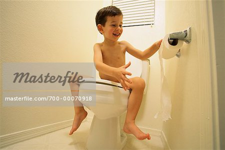 Nude Boy Sitting on Toilet Unrolling Toilet Paper Stock Photo - Rights-Managed, Image code: 700-00070918