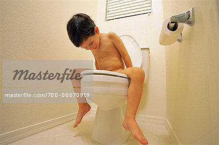 Nude Boy Sitting on Toilet Stock Photo - Rights-Managed, Image code: 700-00070919