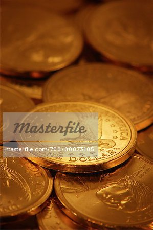 Pile of American One Dollar Coins Stock Photo - Rights-Managed, Image code: 700-00073105