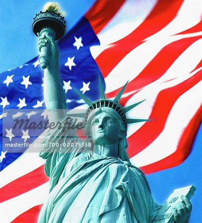 Statue of Liberty and American Flag Stock Photo - Rights-Managed, Image code: 700-00079358