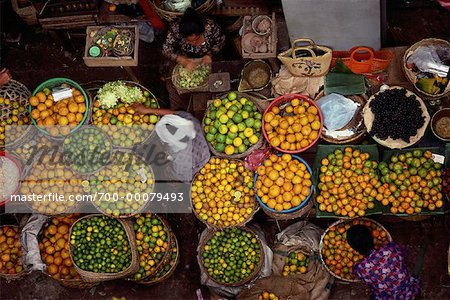 Overhead View of Women in Fruit Market in Denpasar's Central Marketplace, Bali, Indonesia Stock Photo - Rights-Managed, Image code: 700-00079493
