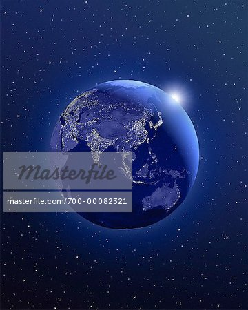 Globe in Space Asia Stock Photo - Rights-Managed, Image code: 700-00082321