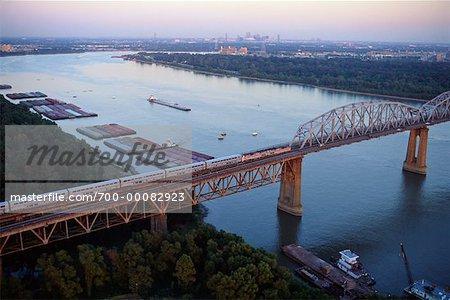 Passenger Train on Huey P. Long Bridge over Mississippi River New Orleans, Louisiana, USA