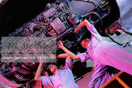 Workers Performing Aircraft Maintenance Indonesia