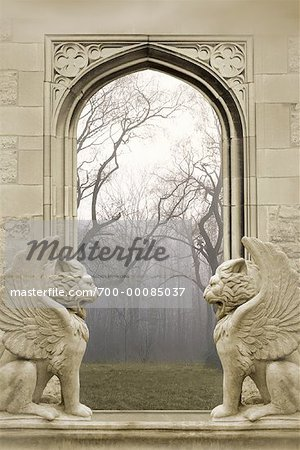 Window with Winged Lion Statues Stock Photo - Rights-Managed, Image code: 700-00085037