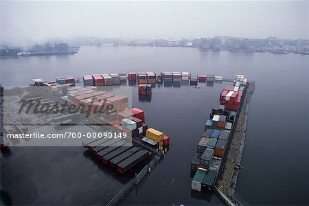 Shipping Containers on Dock Stock Photo - Rights-Managed, Image code: 700-00090149
