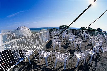 Chairs on Skydeck with View of Cineshpere, Ontario Place Toronto, Ontario, Canada Stock Photo - Rights-Managed, Image code: 700-00152097