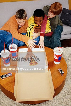 Teenagers Eating Pizza Stock Photo - Rights-Managed, Image code: 700-00153690