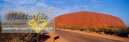 Road and Ayers Rock Northern Territory, Australia