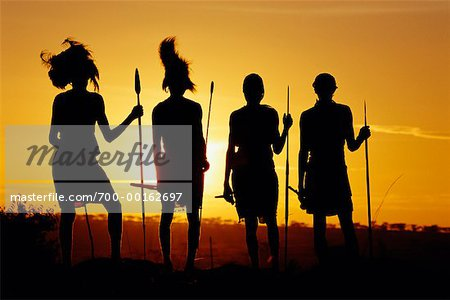 Masai Men at Dawn Kenya, Africa Stock Photo - Rights-Managed, Image code: 700-00162697