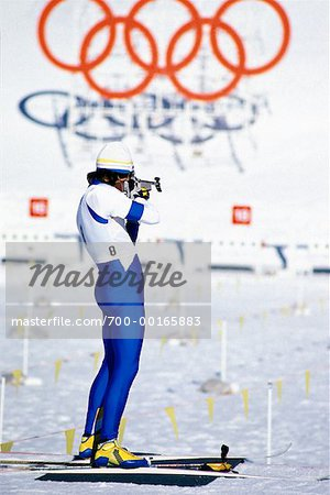 Olympic Biathlon Athlete Shooting At Target Stock Photo - Rights-Managed, Image code: 700-00165883