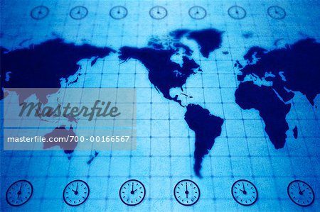 World Map with Time Zones Stock Photo - Rights-Managed, Image code: 700-00166567