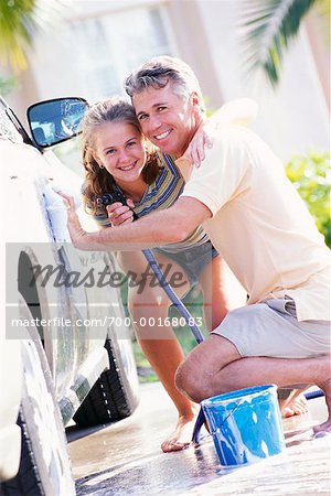 Father and Daughter Washing Car Stock Photo - Rights-Managed, Image code: 700-00168083