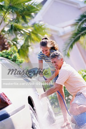 Father and Daughter Washing Car Stock Photo - Rights-Managed, Image code: 700-00168084