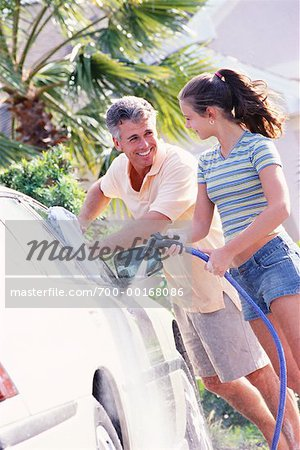 Father and Daughter Washing Car Stock Photo - Rights-Managed, Image code: 700-00168086