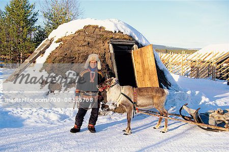 Laplander with Reindeer Lapland, Sweden Stock Photo - Rights-Managed, Image code: 700-00186708