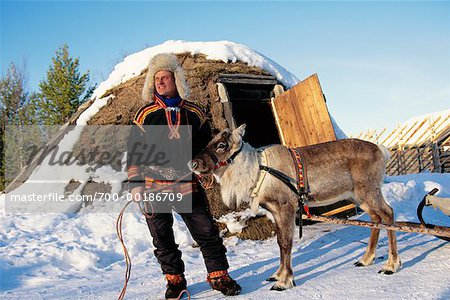 Laplander with Reindeer Lapland, Sweden Stock Photo - Rights-Managed, Image code: 700-00186709