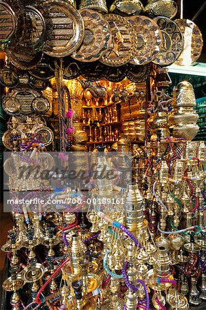 Copper and Brass Wares for Sale Khan Al Khalili Cairo, Egypt Africa